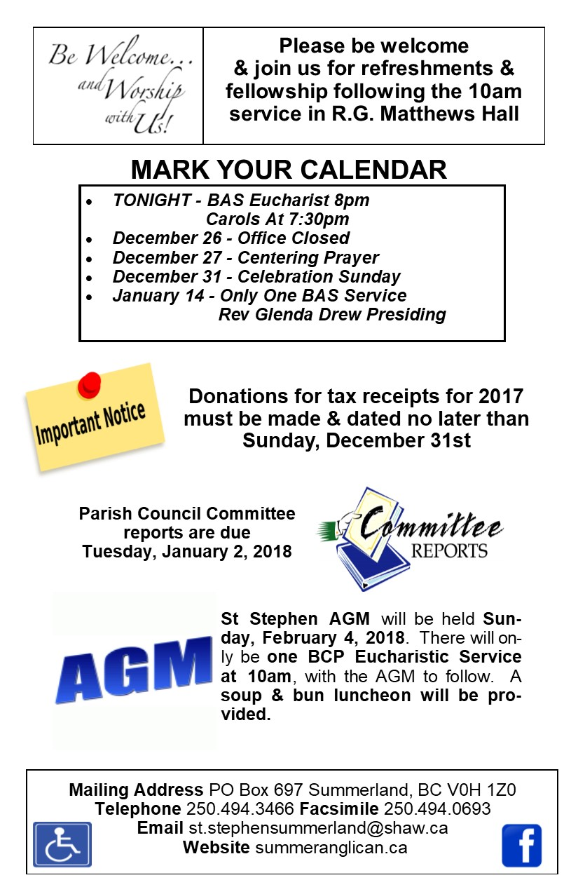 Bulletin December 24, 2017 | St  Stephen Anglican Church of Canada